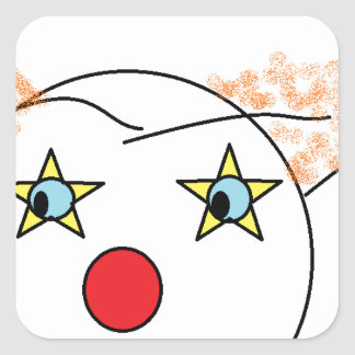 Clown Sketch Square Sticker