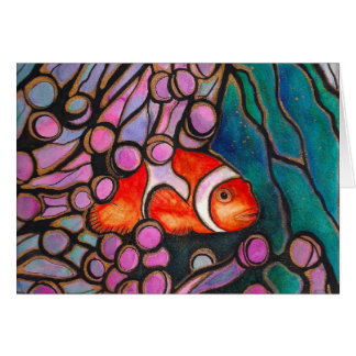 "Clownfish Sea Anemone ""Stained Glass"" design! Card"