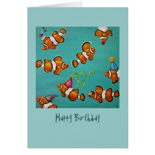 clowning fish birthday card