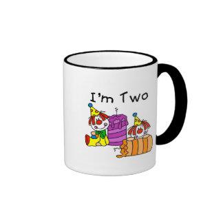 Clowns and Candles 2nd Birthday Tshirts and Gifts Ringer Mug
