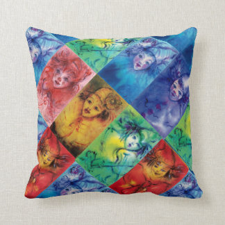 CLOWNS COLLECTION / Venetian Masquerade Faces Throw Pillow