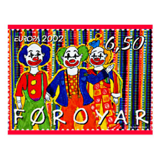 Clowns Stamp Faroe Islands Denmark Postcard