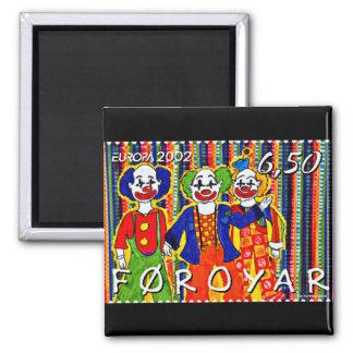Clowns Stamp Faroe Islands Denmark Square Magnet