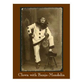 clownwbanjomando, Clown with Banjo-Mandolin Postcard
