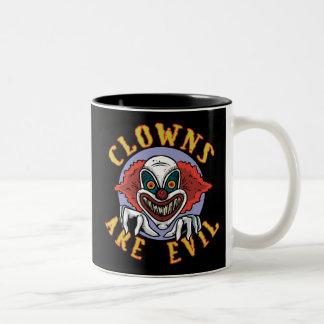 Clows are Evil Two-Tone Mug Mugs