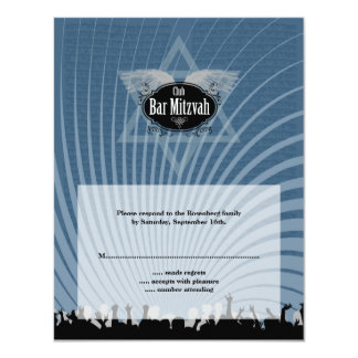 Club Bar Mitzvah Reply Card in Blue