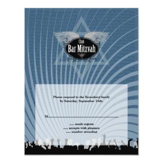 Club Bar Mitzvah Reply Card in Blue 11 Cm X 14 Cm Invitation Card