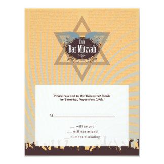 Club Bar Mitzvah Reply Card 11 Cm X 14 Cm Invitation Card