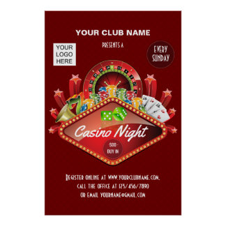 Club Casino Night Party personalized add photo Poster