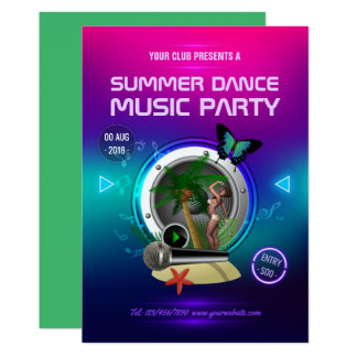Club Summer Dance Music Party Ad Card