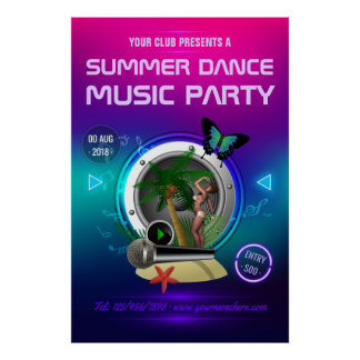 Club Summer Dance Music Party Advert Poster