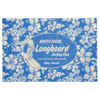 Club Surfing Longboard Logo and Hibiscus Blue Doormat