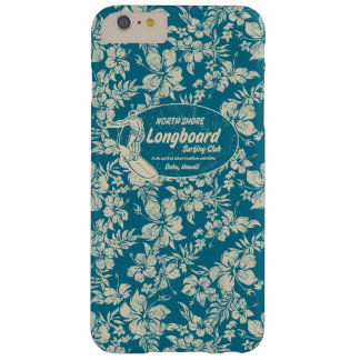 Club Surfing Longboard Logo and Hibiscus Hawaiian Barely There iPhone 6 Plus Case