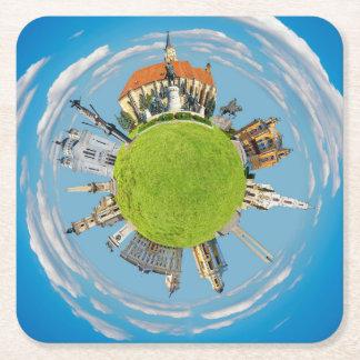 cluj napoca city romania little planet landmark ar square paper coaster