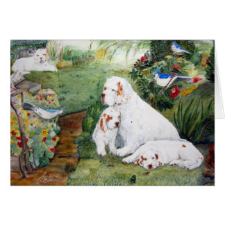 Clumber Puppies in the Garden Greeting Card