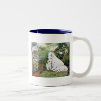 Clumber Puppies in the Garden Two-Tone Coffee Mug