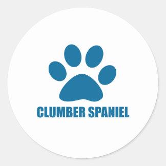 CLUMBER SPANIEL DOG DESIGNS CLASSIC ROUND STICKER
