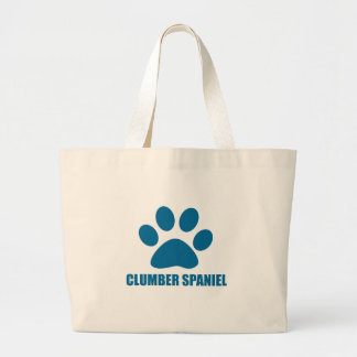 CLUMBER SPANIEL DOG DESIGNS LARGE TOTE BAG