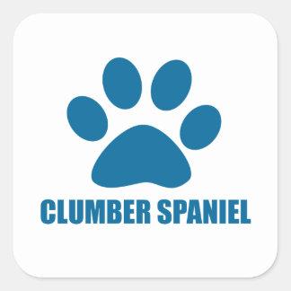 CLUMBER SPANIEL DOG DESIGNS SQUARE STICKER