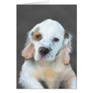 Clumber Spaniel Painting - Cute Original Dog Art Card