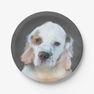 Clumber Spaniel Painting - Cute Original Dog Art Paper Plate