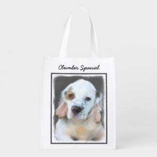 Clumber Spaniel Painting - Cute Original Dog Art Reusable Grocery Bag