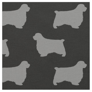 Clumber Spaniel Silhouettes Pattern Fabric