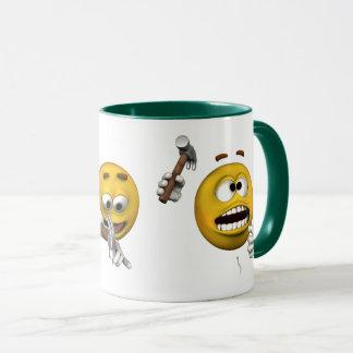 Clumsy emoticon, cartoon style mug