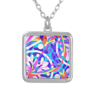 Cluster of Color Violet Variation Silver Plated Necklace