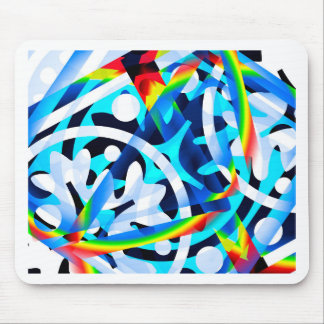 Cluster of Colorful Abstract Shapes Mouse Pad