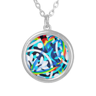 Cluster of Colorful Abstract Shapes Silver Plated Necklace