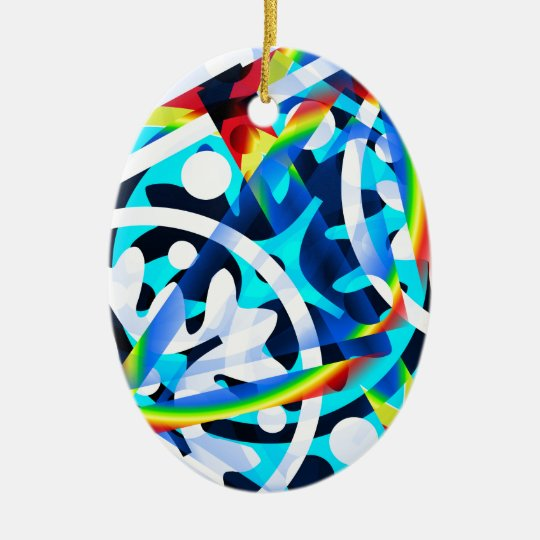 Cluster of colourful Abstract shapes Ceramic Oval Decoration