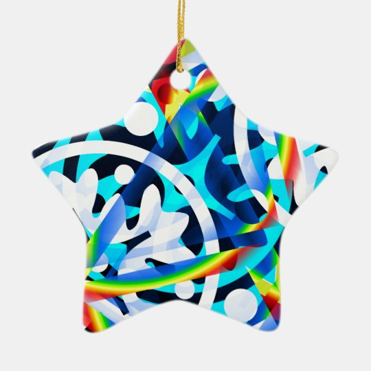Cluster of colourful Abstract shapes Ceramic Star Decoration