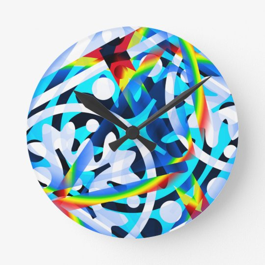 Cluster of colourful Abstract shapes Round Clock