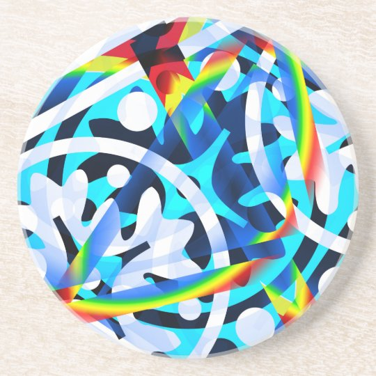 Cluster of Colourful Abstract Shapes Sandstone Coaster