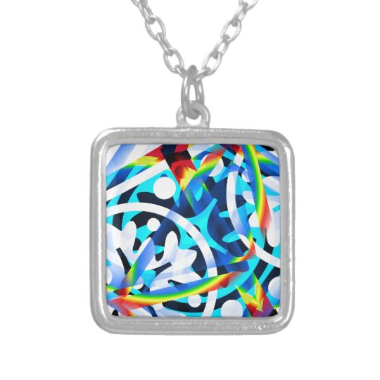 Cluster of Colourful Abstract Shapes Silver Plated Necklace