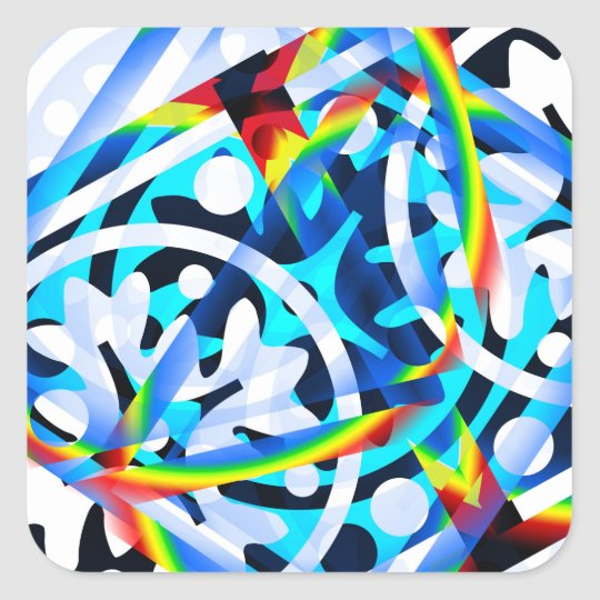 Cluster of colourful Abstract shapes Square Sticker