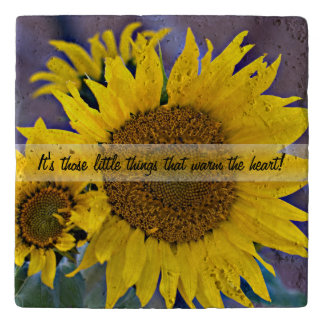 Clustered Sunflowers Close-Up Photograph Trivet