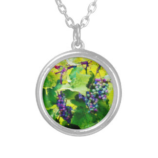 clusters of grapes 17 silver plated necklace