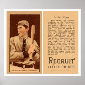 Clyde Milan Nationals Baseball 1912 Posters