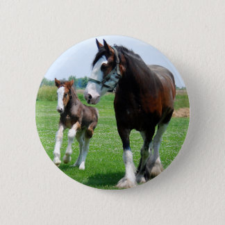 Clydesdale and Filly 6 Cm Round Badge