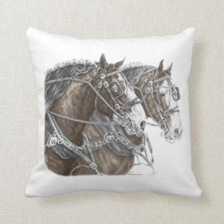 Clydesdale Draft Horse Team Cushion