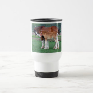 Clydesdale mare and foal travel mug