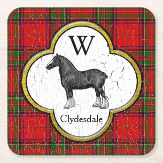Clydesdale Plaid Monogram Personalize Square Paper Coaster