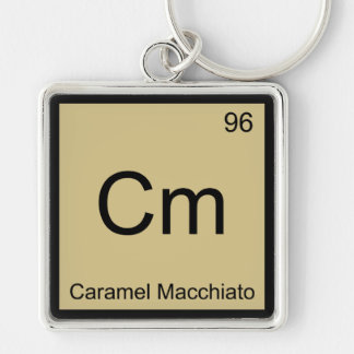 Cm - Caramel Macchiato Chemistry Element Symbol T Silver-Colored Square Key Ring