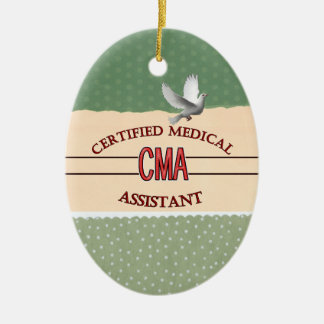 CMA Certified Medical Assistant LOGO Ceramic Oval Decoration