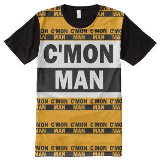 C'MON MAN T-SHIRT YELLOW, WHITE & BLACK All-Over PRINT T-Shirt