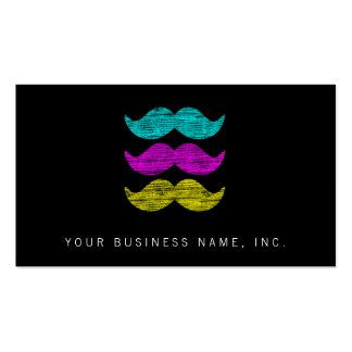 CMY Mustaches (letterpress style) Business Card Templates