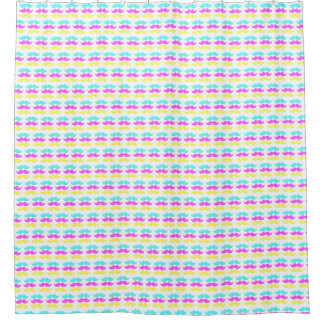 CMY Mustaches (letterpress style) Small Pattern Shower Curtain