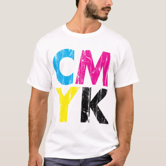 CMYK distressed Stacked Type Shirt